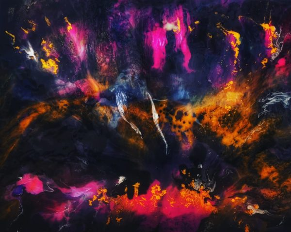 Resin artwork, with depth, colors pink purple black blue orange, abstract