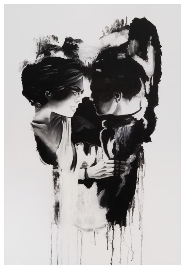 Skull, couple in love, visual illusion, two pictures in one, painting, colors black and white