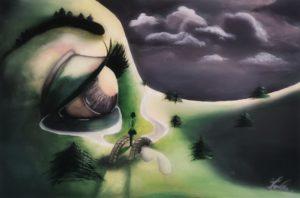 Mother earth, crying eye, dark clouds, tears river, Pine trees, dark skye, woman on a bridge, green lawn