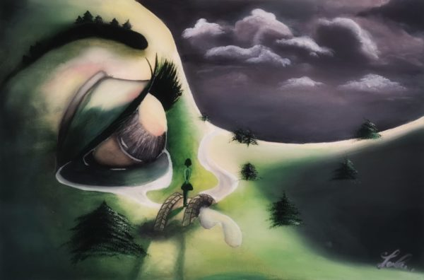 Mother earth, crying eye, dark clouds, tears river, Pine trees, dark skye, woman on a bridge, green lawn