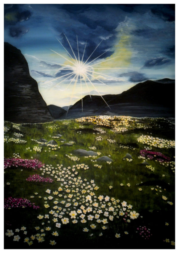 painting, landscape, sunshine, montains, rock, flower field, blue sky, yellow and white flowers