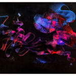 abstract acrylic painting, black background, flowing drawing, highlighting colors light blue and pink