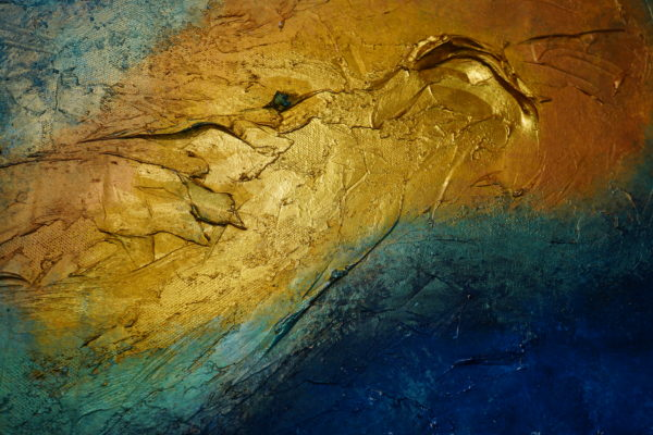 Abstrct paining, colours Blue, gold, copper, sea green, zoom from artwork