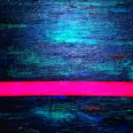 Abstract artwork, structure paste, colors in pink blue red darkblue and metallic, Pink horizontal stripe